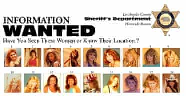 Poster showing at least 50 women who may have been victims of Bill Bradford