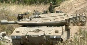 An Israeli tank near the contested Shebaa Farms area in southern Lebanon.