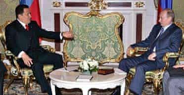 Vladimir Putin and Hugo Chavez at the Kremlin