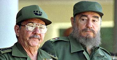 Fidel Castro with his brother Raul (left) in June 2001