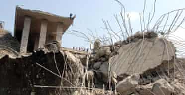 The remains of the Halat bridge north of Beirut following an Israeli air strike. Photograph: Fadi Ghalioum/Reuters