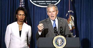 President Bush with Condoleezza Rice, the US secretary of state, in Crawford, Texas. Photograph: Evan Vucci/AP