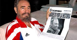 One of the photographs of Fidel Castro published in Cuba by the youth daily Juventud Rebelde. Photograph: EPA