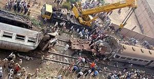 A train collision in Qalyoub, Egypt