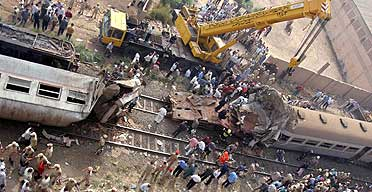 A train collision in Qalyoub, Egypt