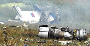The wreckage of a Russian airliner