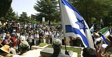 Israeli reserve soldiers and activists gather at Mount Herzl cemetery to protest against the government of Ehud Olmert