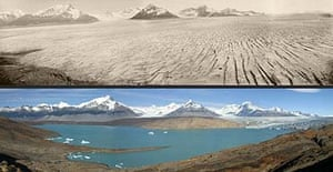 Two images of the Upsala glacier in Argentina show the retreat of the ice
