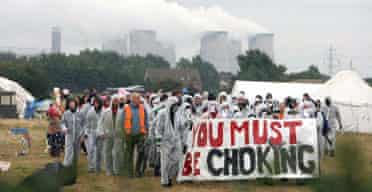 Protestors at a camp near Drax power station in north Yorkshire, who vowed to close down the coal-fired facility.