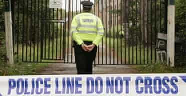 Police guard the Jameah Islameah school during a search near Crowborough. Photograph: Peter Macdiarmid/Getty Images