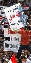 Protesters greet Tony Blair's visit to Lebanon