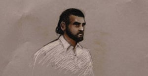 Court sketch of Omar Khyam, 24, appearing at the Old Bailey with six other suspects, accused of using fertiliser for making bombs.