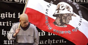 A supporter of Germany's far-right National Democratic Party (NPD) at a rally in Berlin