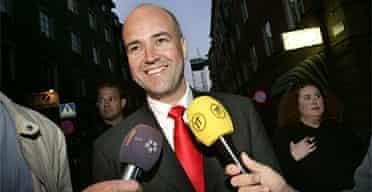 The leader of Sweden's Moderate party, Fredrik Reinfeldt. Photograph: Henrik Montgomery/AFP