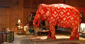 Tai, an Indian female elephant stands in the middle of a couple's home in a performance art piece by English artist Banksy