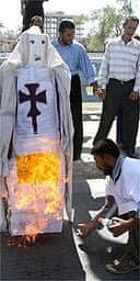 An effigy of the Pope is set alight in Basra