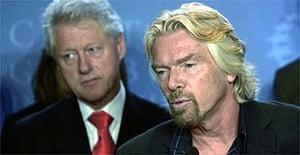 Virgin boss Sir Richard Branson and former US president Bill Clinton