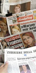 Newspaper front-pages carry the picture of Natascha Kampusch after her television interview. Photograph: Barbara Gindl/EPA