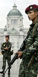 Soldiers stand guard in Bangkok