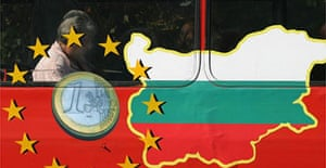 A bus in Sofia is painted with the EU sign and a map of Bulgaria. Photograph: Petar Petrov/AP