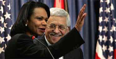 Condoleezza Rice and Mahmoud Abbas