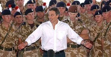 Tony Blair addresses troops in Basra in May 2003