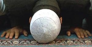 A Muslim man at prayer in Copenhagen, Denmark