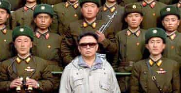 The North Korean leader, Kim Jong-il, with soldiers of the People's army