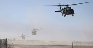 US helicopters take off from their base near the Iraqi town of Samarra