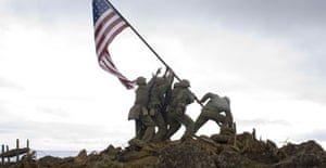 The portrayal in Clint Eastwood's film, Flags of Our Fathers, of the raising of the US flag on Iwo Jima.