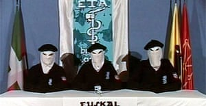 A screen grab of the video in which the Basque separatist group Eta declares a permanent ceasefire in March, 2006.