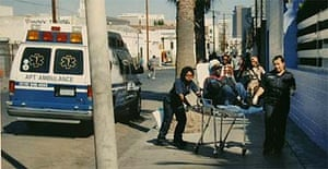 A patient from Los Angeles Metropolitan medical centre allegedly being dumped on Skid Row