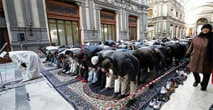 Muslims praying in Naples, Italy