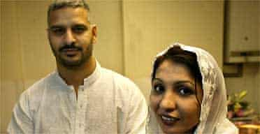 Mohammed Raz and Nazin Saleem: 'My wife is the first female Muslim embalmer'. Photograph: Don McPhee/Guardian