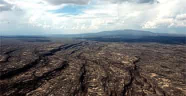 Fissures have opened in the Earth's surface in Afar as the Arabian and Nubian tectonic plates pull apart. Scientists say the process is the same as that which created the Atlantic. Photograph: Xan Rice