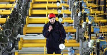 An engineer checks gas pressure at a Gazprom gas storage south of Moscow