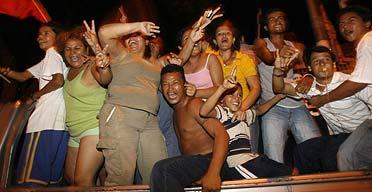 Supporters of Daniel Ortega celebrate in the streets of Managua
