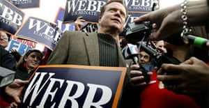 Jim Webb, Democratic Senate candidate for Virginia, talks to reporters outside a voting station. Photograph: Alex Wong/Getty