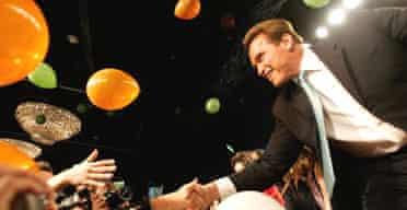 Arnold Schwarzenegger celebrates his re-election as governor of California