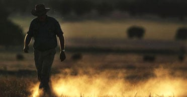 Australian farmer Wayne Dunford walks through his failed barley in Parkes, New South Wales