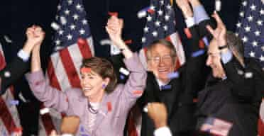 Nancy Pelosi and fellow Democrats celebrate taking control of the House of Representatives at an election night party in Washington