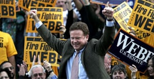 Democratic Senator-elect Jim Webb celebrates his victory in the crucial Virginia race