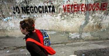 Graffiti in Pristina, Kosovo, reads: 'No negotiations - self determination.'