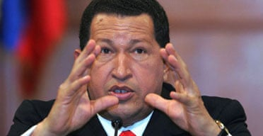 The Venezuelan president, Hugo Chavez, at a press conference with foreign correspondents in Caracas