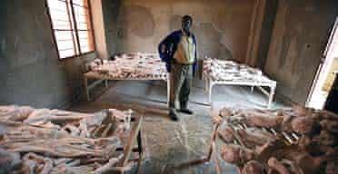Preserved skeletons in Murambi school, Rwanda