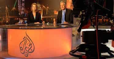 Presenters in al-Jazeera's London bureau in Knightsbridge