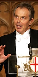 Tony Blair gives his speech at the lord mayor's banquet at the Guildhall in the City of London