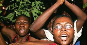 President Kabila's supporters celebrate in Kinshasa