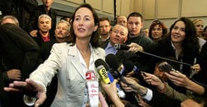 Ségolène Royal reacts with joy at the results of the Socialist party primary last night
