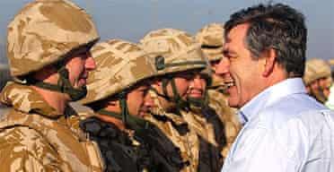 Gordon Brown talks to British troops in Basra